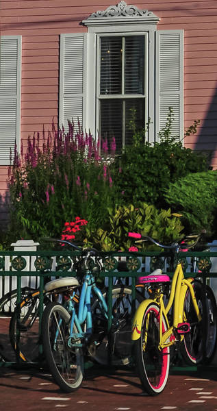 Shutter Speed Photograph - Pink House Bikes Cape May Nj by Terry DeLuco