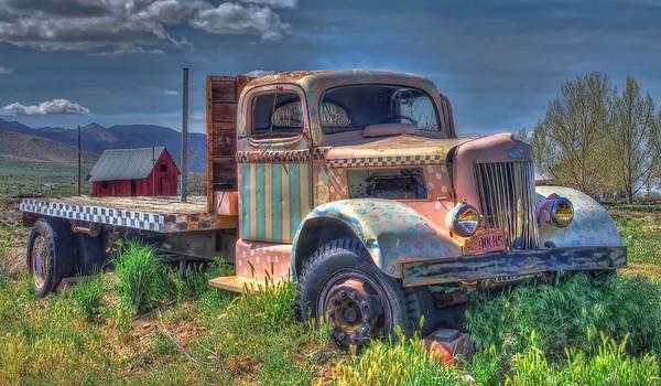 Classic Flatbed Truck In Pink Art Print