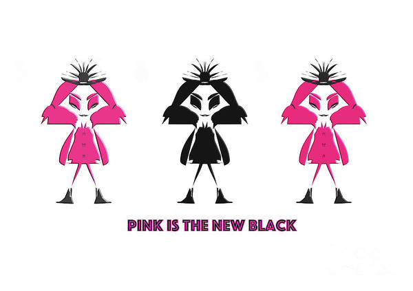 Digital Art - Pink Is The New Black by Barefoot Bodeez Art