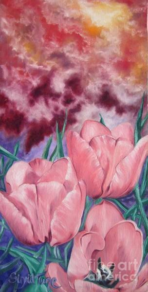Painting - Flygende Lammet Productions            Pink Lady Tulips by Sigrid Tune