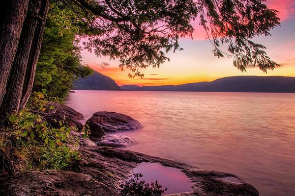 Bolton Landing Wall Art - Photograph - Pink Lake George Sunrise by Tony Beaver