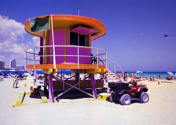 Wall Art - Photograph - Pink Lifeguard Stand by William Wetmore