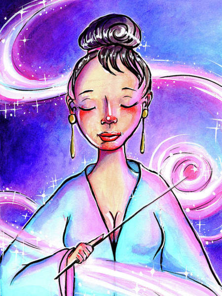 Mixed Media - Pink Light Witch by Nada Meeks