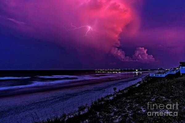 Pink Lightning Art Print