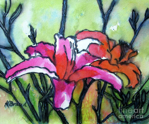 Wall Art - Painting - Pink Lilies by Kathy Braud