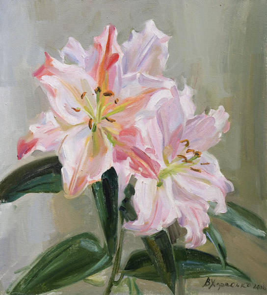 Wall Art - Painting - Pink Lilies by Victoria Kharchenko