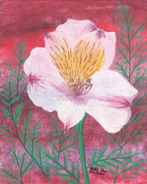Wall Art - Painting - Pink Lilly by Katelijn Van Munster