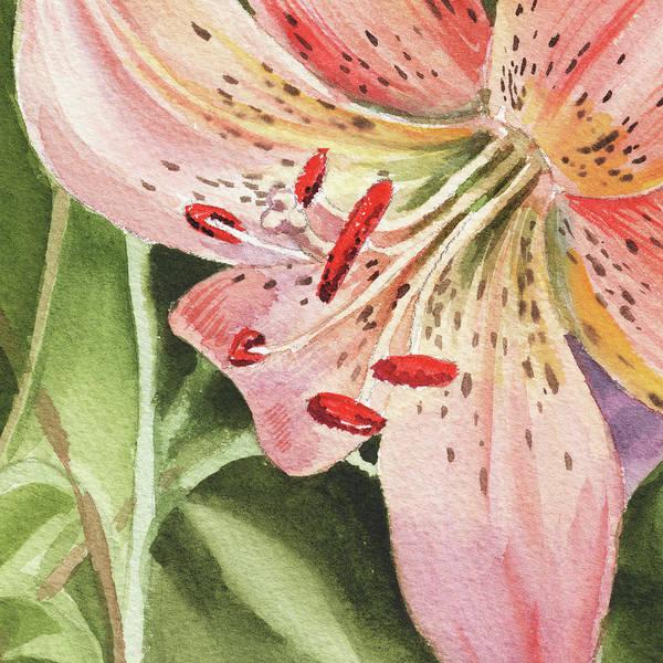Painting - Pink Lily Close Up by Irina Sztukowski