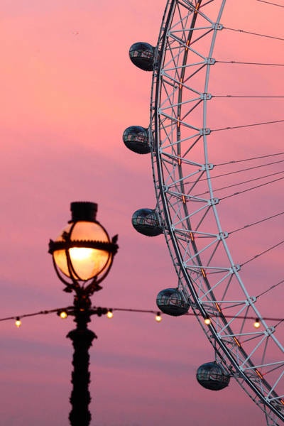 Photograph - Pink London Eye Sunset 1 by James Brunker