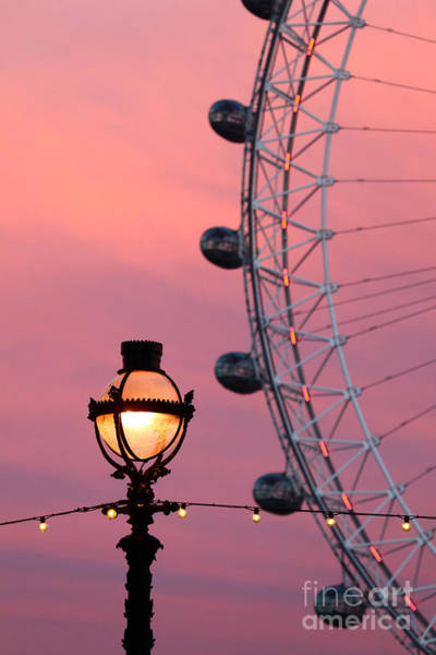 Photograph - Pink London Eye Sunset 2 by James Brunker