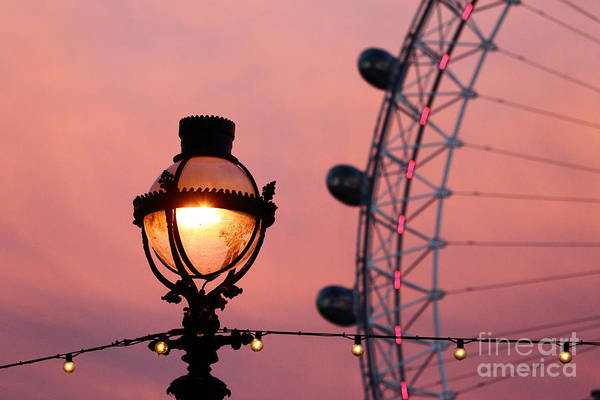 Photograph - Pink London Eye Sunset 3 by James Brunker