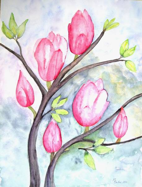 Painting - Pink Magnolias On Pastel Blue by Joy of Life Art