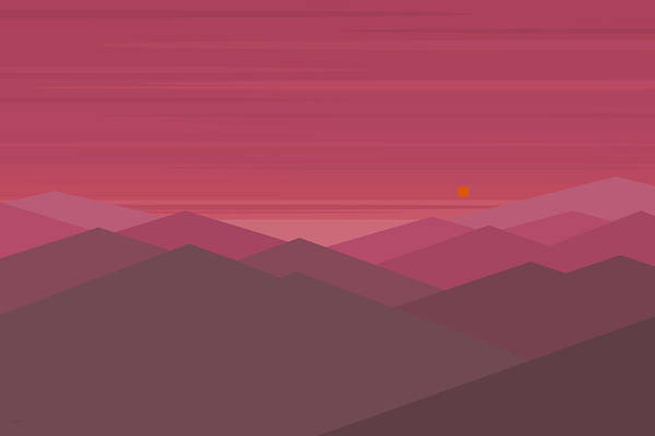 Digital Art - Pink Mountain Landscape by Val Arie