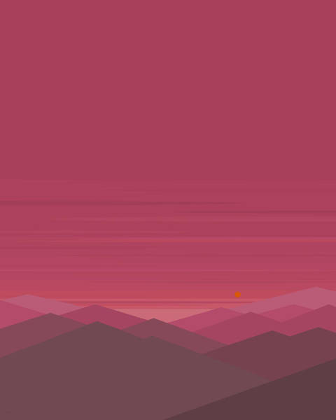 Digital Art - Pink Mountain Landscape - Vertical by Val Arie