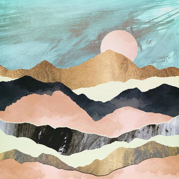 Coral Digital Art - Pink Mountains by Spacefrog Designs
