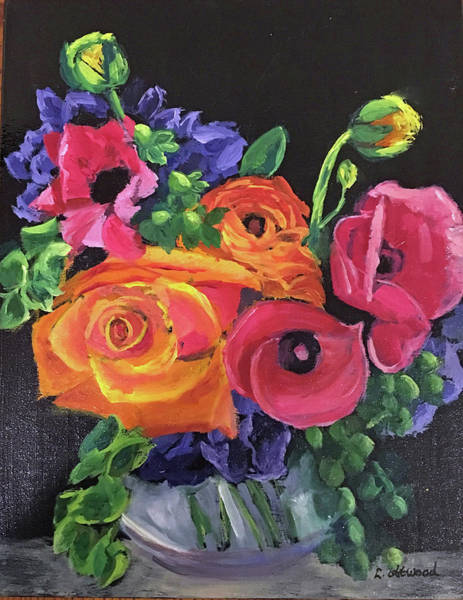 Painting - Pink On Black by Lynne Atwood