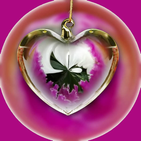 Mixed Media - Pink Orchid In A Heart by Pamela Walton