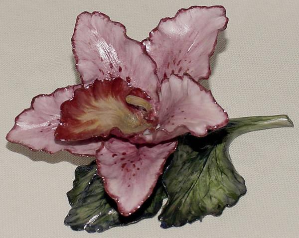 Ceramic Art - Pink Orchid by Shirley Heyn