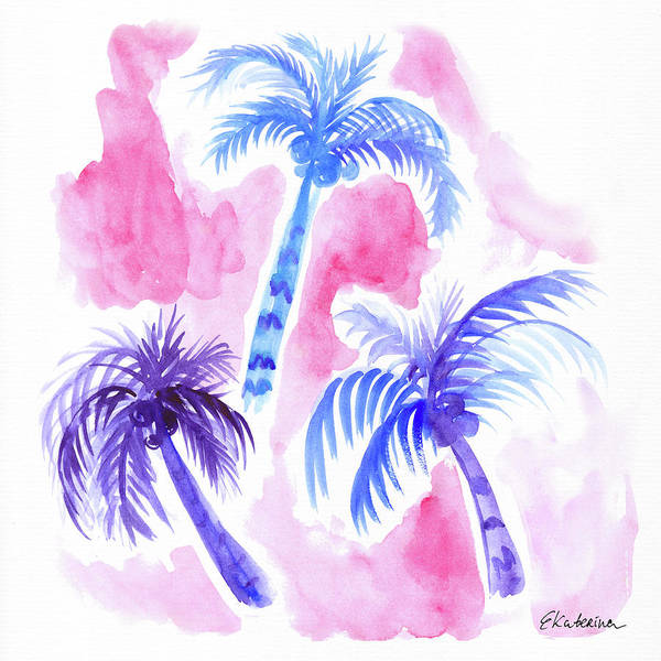 Painting - Pink Palm Trees by Ekaterina Chernova