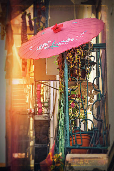 Balcony Photograph - Pink Parasol On A Lisbon Balcony  by Carol Japp