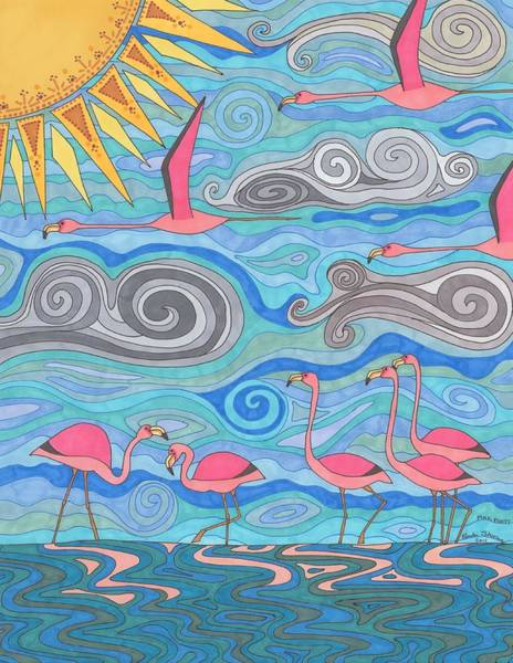 Flamingo Drawing - Pink Party by Pamela Schiermeyer