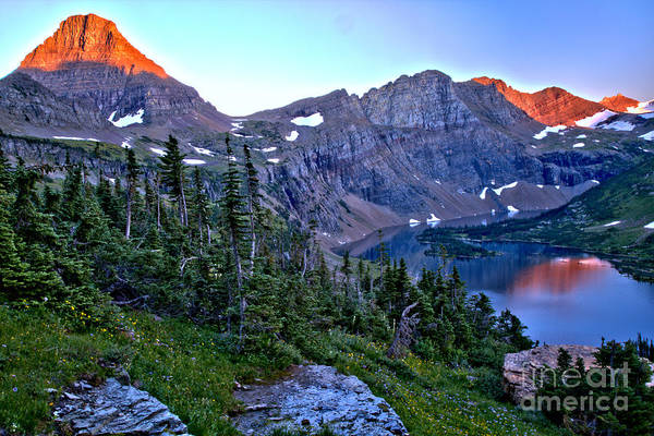 Photograph - Pink Peaks Over Hidden Lake by Adam Jewell