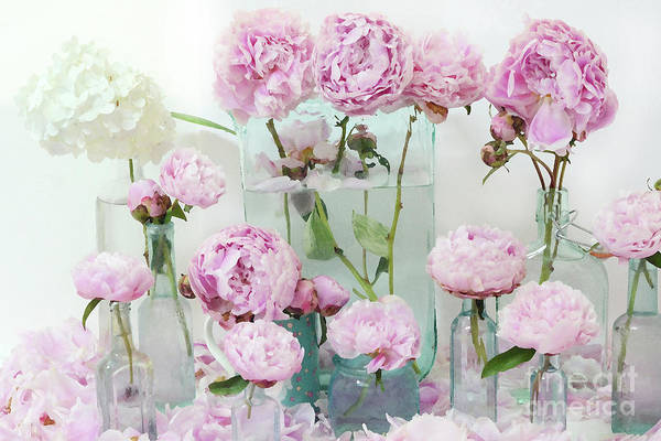 Wall Art - Photograph - Pink Peonies Flowers Wall Art Peonies Pink Aqua Shabby Chic Cottage Watercolor Peony Prints by Kathy Fornal