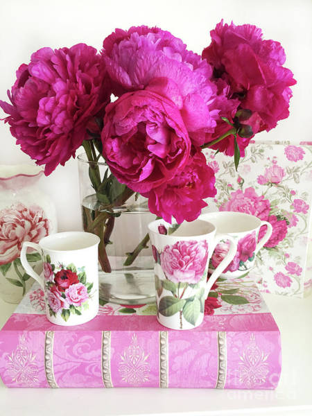 Wall Art - Photograph - Pink Peonies, Red Peonies, Peony Flowers, Peonies Peony Teacups Kitchen Art Home Decor by Kathy Fornal