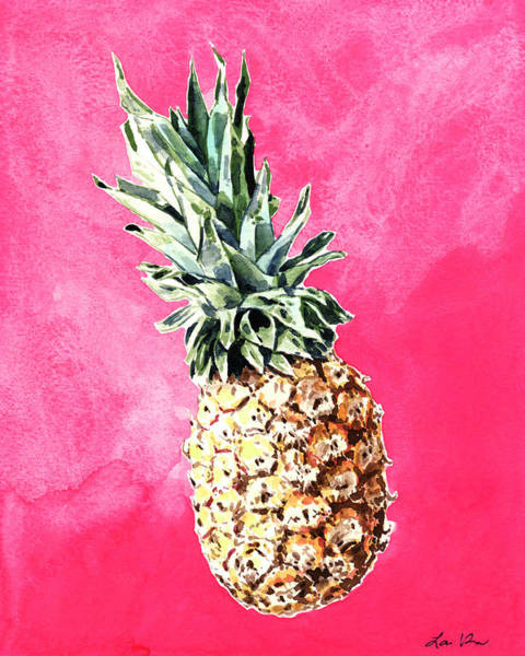 Girly Painting - Pink Pineapple Bright Fruit Still Life Healthy Living Yoga Inspiration Tropical Island Kawaii Cute by Laura Row