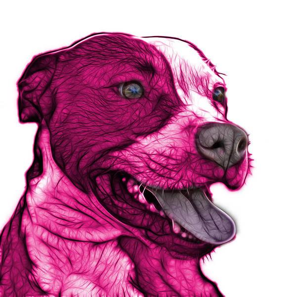 Mixed Media - Pink Pit Bull Fractal Pop Art - 7773 - F - Wb by James Ahn