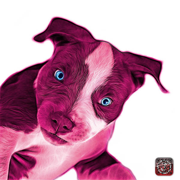 Painting - Pink Pitbull Dog Art 7435 - Wb by James Ahn