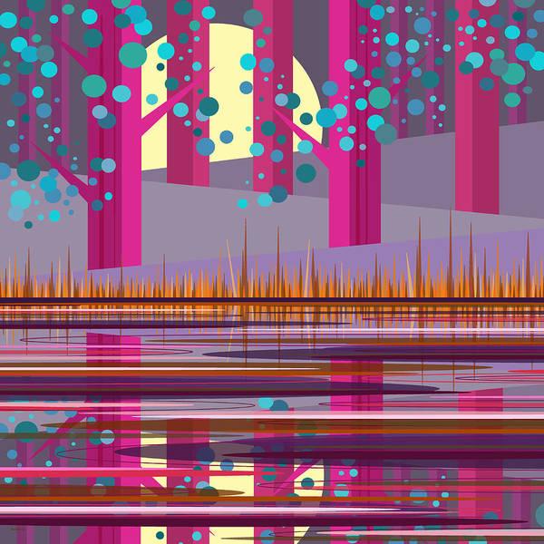 Digital Art - Pink Pond by Val Arie