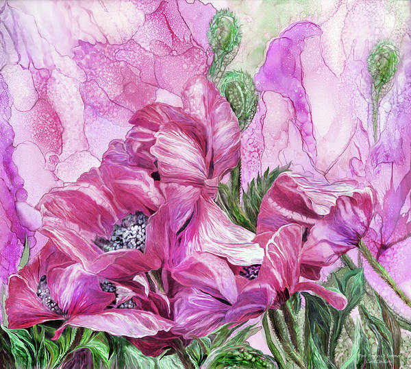 Mixed Media - Pink Poppies Of Summer by Carol Cavalaris