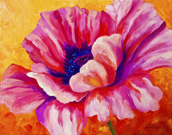 Scenic Landscape Painting - Pink Poppy by Marion Rose