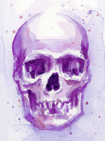 Skulls Wall Art - Painting - Pink Purple Skull by Olga Shvartsur