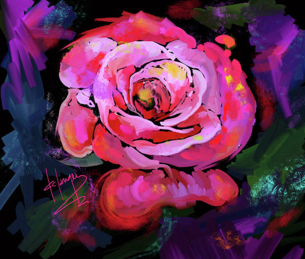 Painting - Pink-red Rose by DC Langer