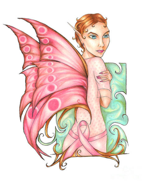 Drawing - Pink Ribbon Fairy For Breast Cancer Awareness by Kristin Aquariann