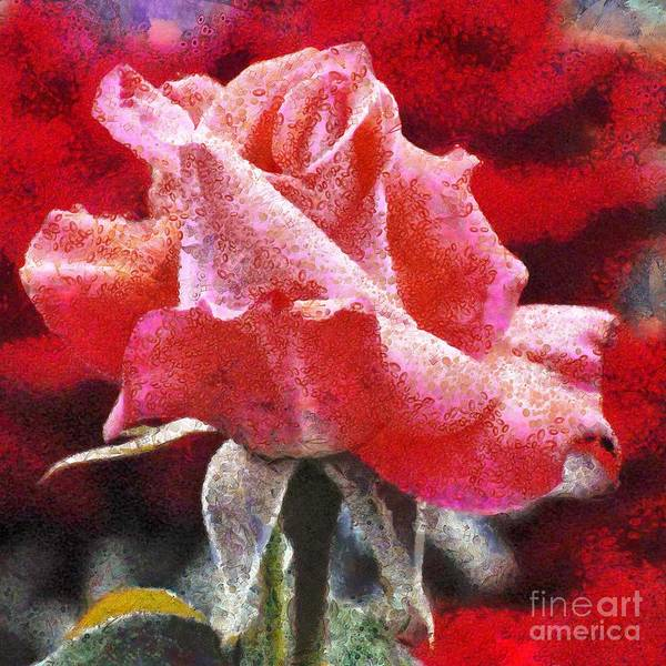 Painting - Pink Rose And Red Fragmented In Thick Paint by Catherine Lott