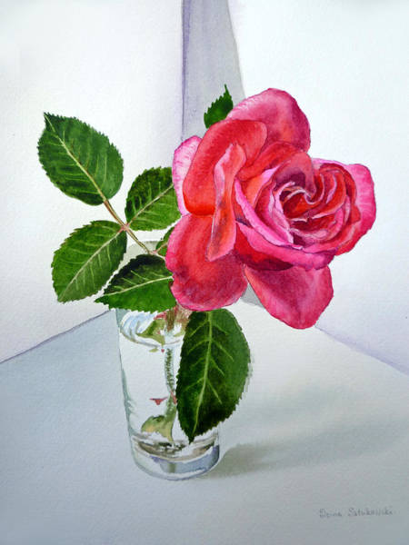 Rose Wall Art - Painting - Pink Rose by Irina Sztukowski