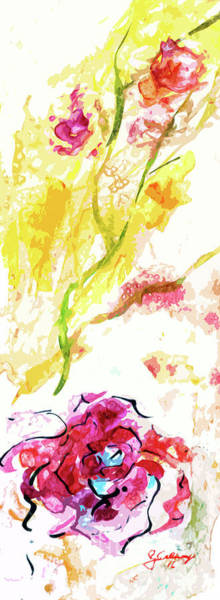 Mixed Media - Pink Rose Modern Floral Art by Ginette Callaway