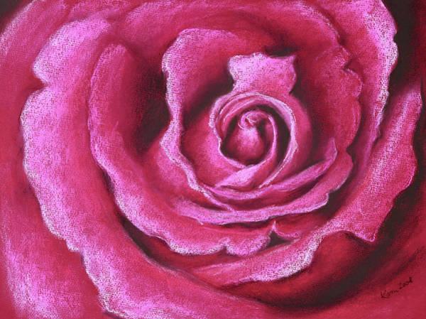 Wall Art - Painting - Pink Rose Pastel Painting by Karen Kaspar