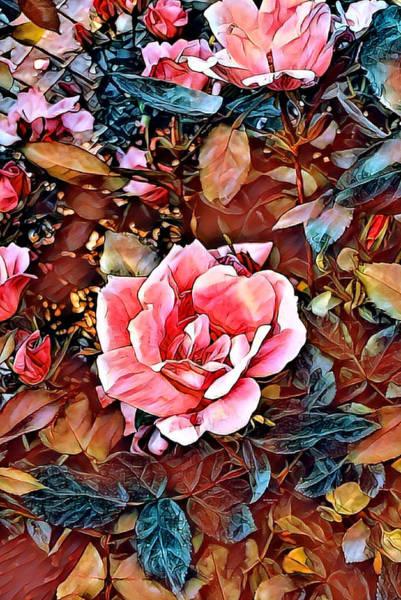 Digital Art - Pink Rose Petals by Artful Oasis