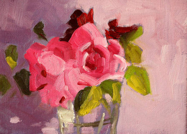 Wall Art - Painting - Pink Roses 3 Still Life Painting by Nancy Merkle