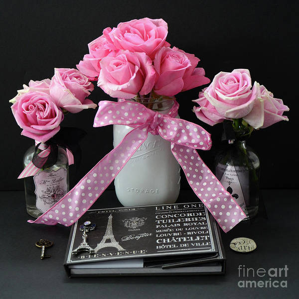 Parisian Photograph - Pink Roses French Decor - Pink And Black Parisian Wall Art - Pink Roses French Home Decor by Kathy Fornal