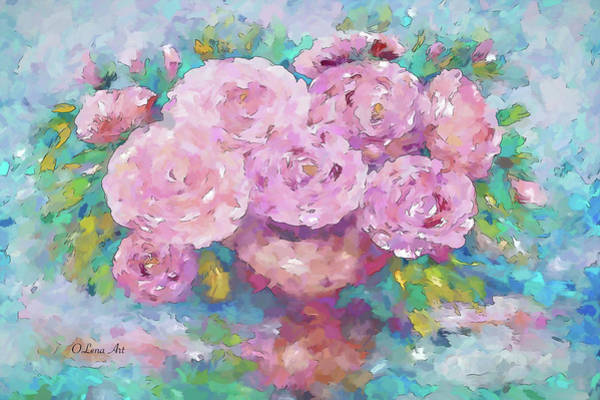 Painting - Bouquet Of Pink Roses Just For You by OLena Art - Lena Owens