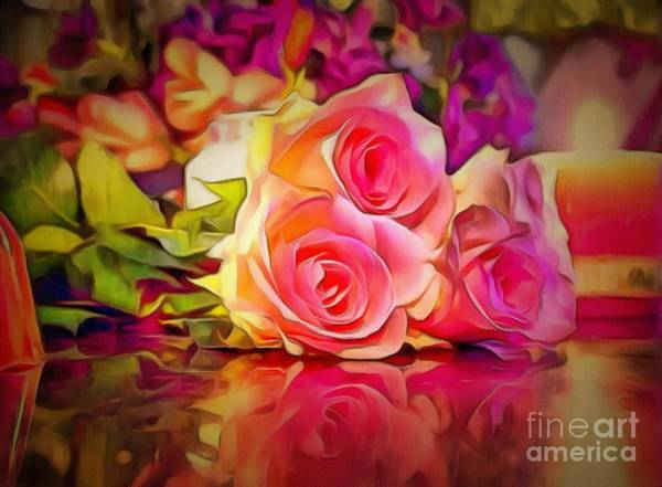 Digital Art - Pink Roses Reflect by Catherine Lott