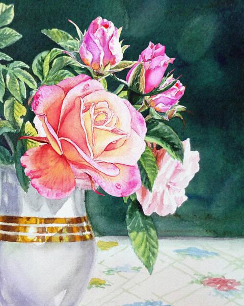 Wall Art - Painting - Pink Roses Summer Bouquet  by Irina Sztukowski