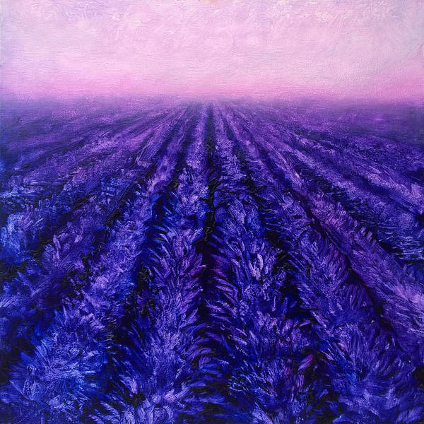 Painting - Abstract Lavender Field Landscape - Contemporary Landscape Painting - Amethyst Purple Color Block by Karen Whitworth