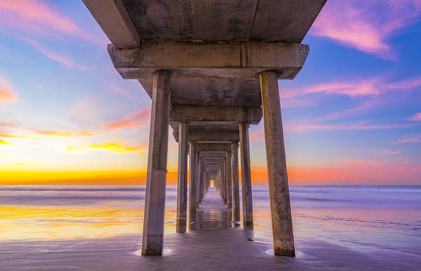 Scripps Pier Photograph - Pink Sky At Night, Photographers Delight by Peter Irwindale
