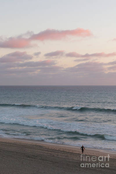 Wall Art - Photograph - Pink Sky Lone Surfer by Ana V Ramirez